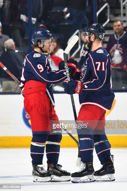 Artemi Panarin of the Columbus Blue Jackets shakes hands with teammate Nick Foligno of the Columbus Blue Jackets following a 63 loss against the...