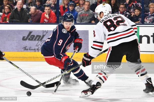 Artemi Panarin of the Columbus Blue Jackets skates against the Chicago Blackhawks on February 24 2018 at Nationwide Arena in Columbus Ohio
