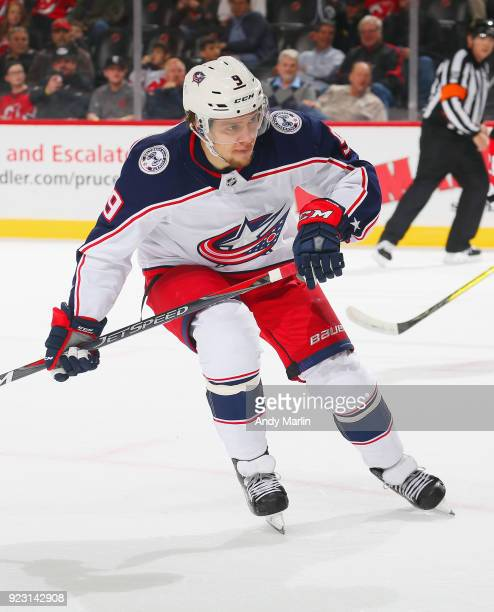 Artemi Panarin of the Columbus Blue Jackets skates during the game against the New Jersey Devils at Prudential Center on February 20 2018 in Newark...