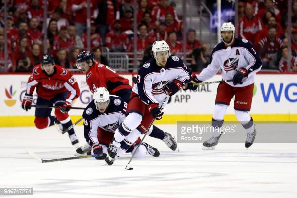 Artemi Panarin of the Columbus Blue Jackets skates with the puck against the Washington Capitals in the first period during Game Two of the Eastern...