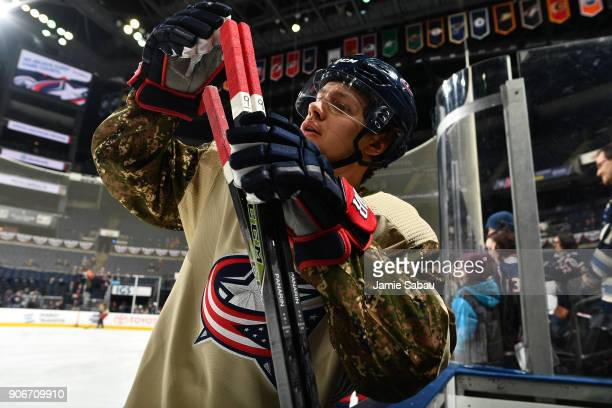Artemi Panarin of the Columbus Blue Jackets sports a special jersey for Military Appreciation Night during warmups prior to a game against the Dallas...