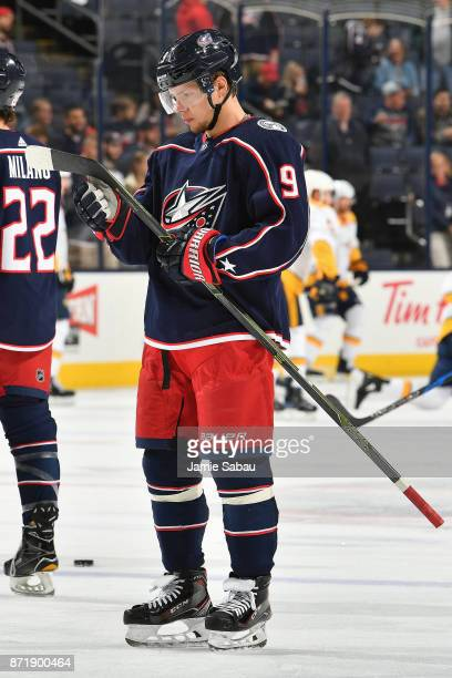 Artemi Panarin of the Columbus Blue Jackets warms up before a game against the Nashville Predators on November 7 2017 at Nationwide Arena in Columbus...