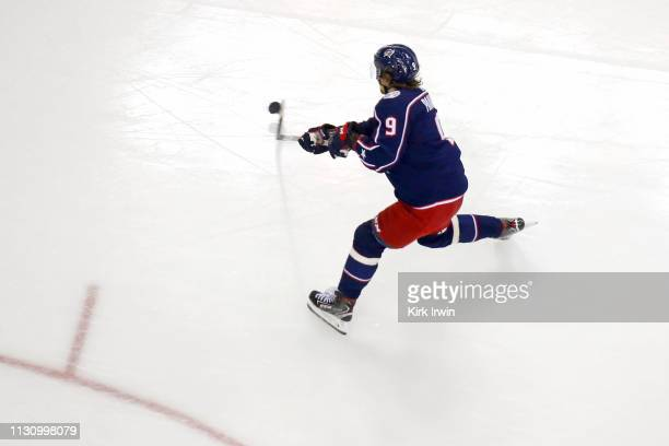 Artemi Panarin of the Columbus Blue Jackets warms up prior to the start of the game against the Tampa Bay Lightning on February 18 2019 at Nationwide...