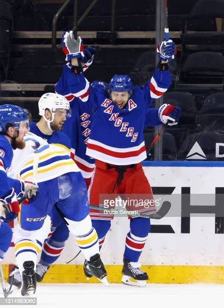 Artemi Panarin of the New York Rangers celebrates a goal against the Buffalo Sabres at Madison Square Garden on April 27, 2021 in New York City. The...