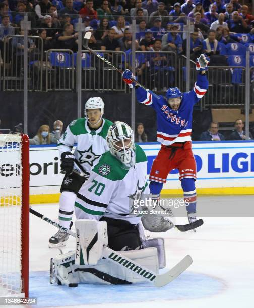 Artemi Panarin of the New York Rangers celebrates a second period goal by Adam Fox against Braden Holtby of the Dallas Stars at Madison Square Garden...