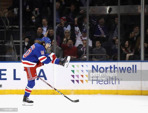 Artemi Panarin of the New York Rangers celebrates his goal at 17:18 of the third period against the Nashville Predators at Madison Square Garden on...