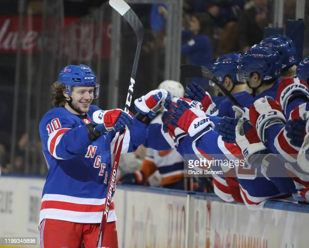 Artemi Panarin of the New York Rangers celebrates his second goal of the game against the New York Islanders at Madison Square Garden on January 13,...