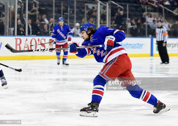 Artemi Panarin of the New York Rangers fires a shot for a goal in the second period of their game against the Washington Capitals at Madison Square...