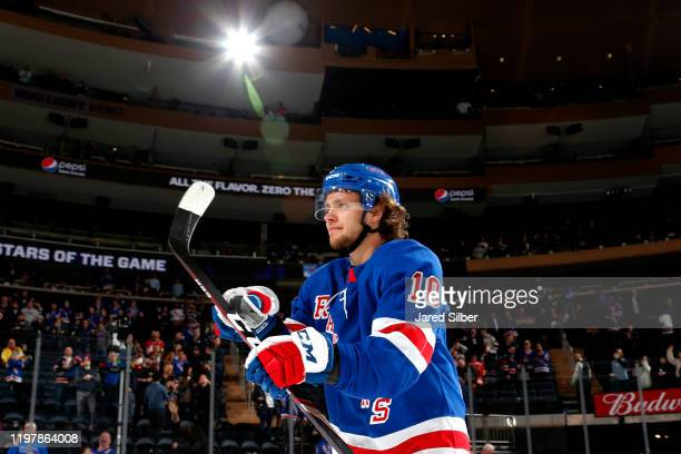 Artemi Panarin of the New York Rangers is named second star of the game after a win against the Detroit Red Wings at Madison Square Garden on January...