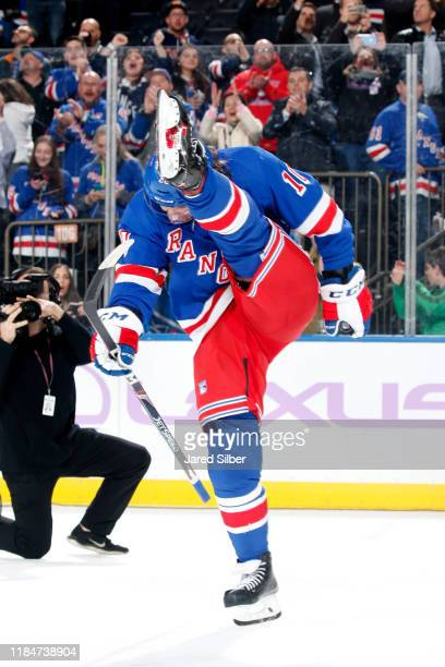 Artemi Panarin of the New York Rangers is named the first star of the game against the Minnesota Wild at Madison Square Garden on November 25, 2019...