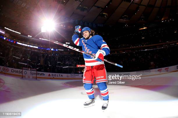 Artemi Panarin of the New York Rangers is named the first star of the game against the Carolina Hurricanes at Madison Square Garden on December 27,...