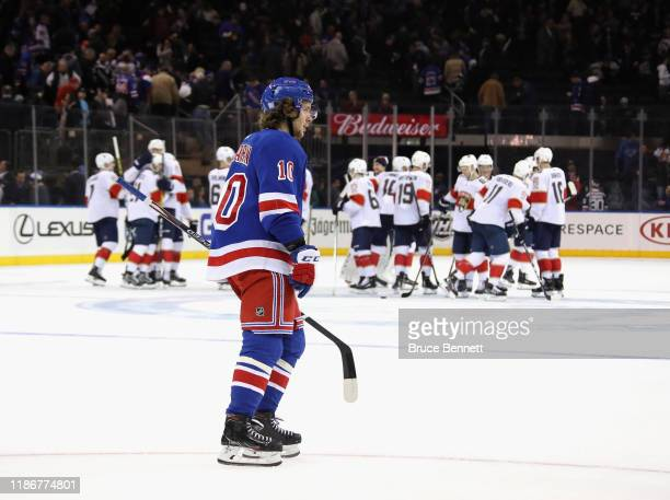 Artemi Panarin of the New York Rangers leaves the ice following a 65 shootout loss to the Florida Panthers at Madison Square Garden on November 10...