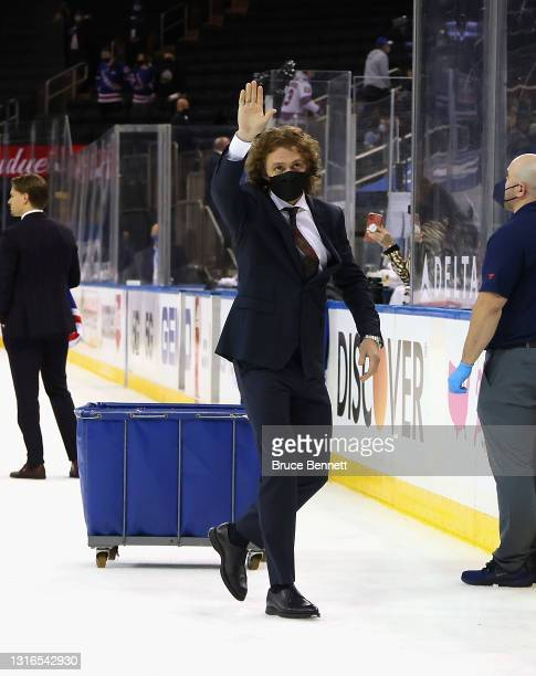 Artemi Panarin of the New York Rangers leaves the ice following the last home game of the season against the Washington Capitals at Madison Square...