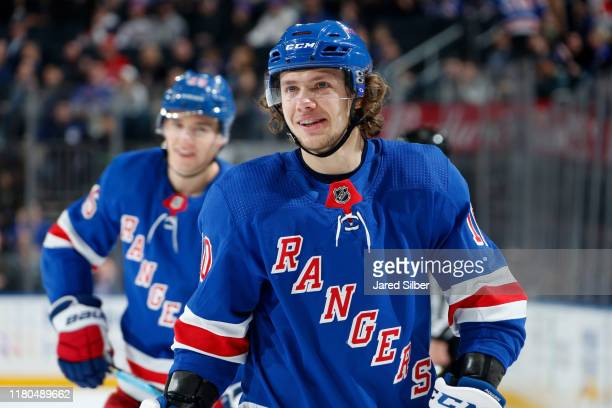 Artemi Panarin of the New York Rangers looks on against the Detroit Red Wings at Madison Square Garden on November 6 2019 in New York City