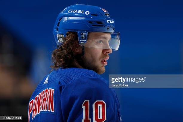Artemi Panarin of the New York Rangers looks on during warmups prior to the game against the Pittsburgh Penguins at Madison Square Garden on January...