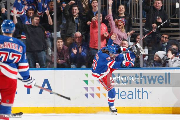 Artemi Panarin of the New York Rangers reacts after scoring a goal in the second period against the Detroit Red Wings at Madison Square Garden on...