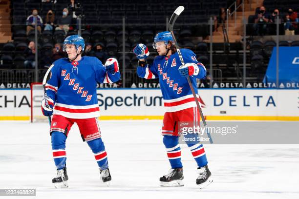 Artemi Panarin of the New York Rangers reacts after scoring a goal in the third period against the Philadelphia Flyers at Madison Square Garden on...
