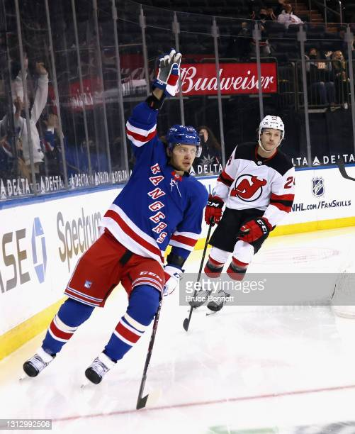 Artemi Panarin of the New York Rangers scores against Aaron Dell of the New Jersey Devils at 32 seconds of the second period at Madison Square Garden...