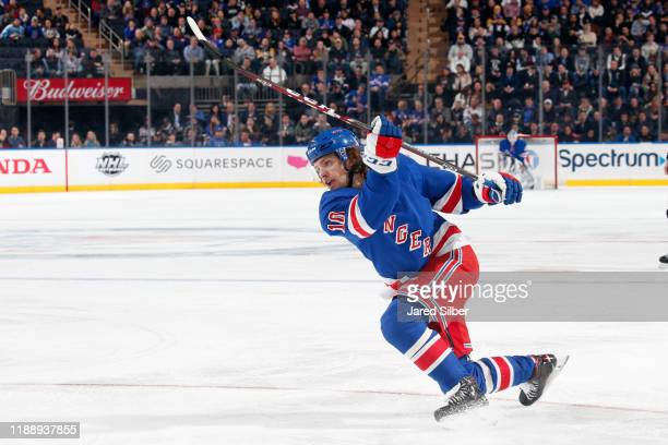 Artemi Panarin of the New York Rangers shoots the puck against the Pittsburgh Penguins at Madison Square Garden on November 12 2019 in New York City