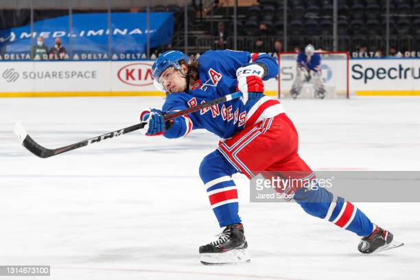 Artemi Panarin of the New York Rangers shoots the puck against the Buffalo Sabres at Madison Square Garden on April 25, 2021 in New York City.