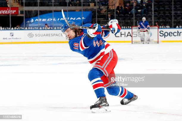 Artemi Panarin of the New York Rangers shorts the puck against the Philadelphia Flyers at Madison Square Garden on April 22, 2021 in New York City.