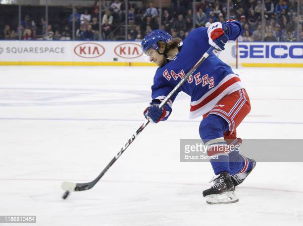 Artemi Panarin of the New York Rangers skates against the Florida Panthers at Madison Square Garden on November 10 2019 in New York City The Panthers...