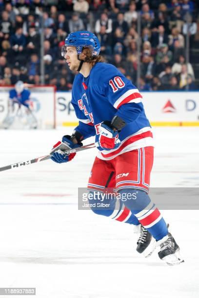 Artemi Panarin of the New York Rangers skates against the Pittsburgh Penguins at Madison Square Garden on November 12 2019 in New York City