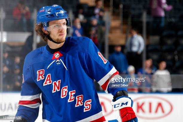 Artemi Panarin of the New York Rangers skates against the St Louis Blues at Madison Square Garden on March 3, 2020 in New York City.