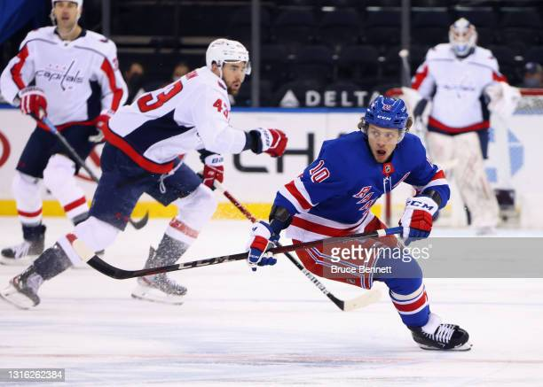 Artemi Panarin of the New York Rangers skates against the Washington Capitals at Madison Square Garden on May 03, 2021 in New York City. The Capitals...