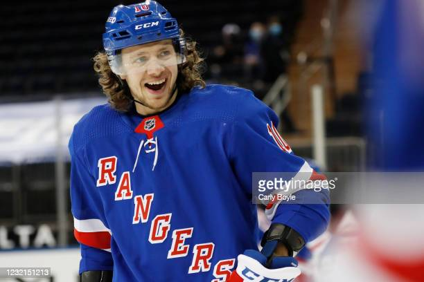 Artemi Panarin of the New York Rangers skates during warmups prior to the game against the Pittsburgh Penguins at Madison Square Garden on April 6,...