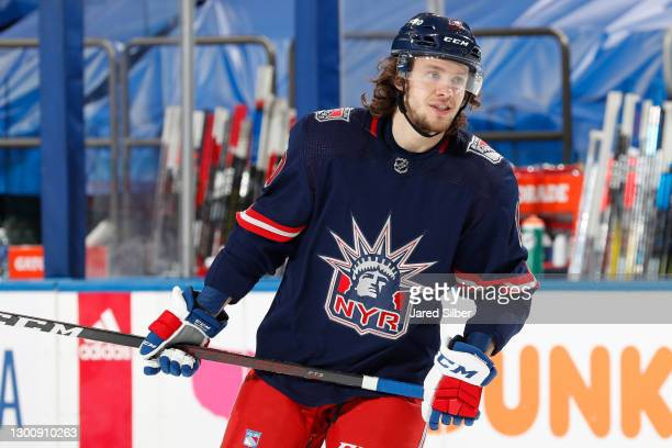 Artemi Panarin of the New York Rangers skates during warmups prior to the game against the Washington Capitals at Madison Square Garden on February...