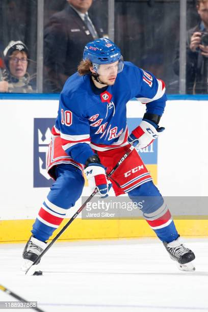 Artemi Panarin of the New York Rangers skates with the puck against the Pittsburgh Penguins at Madison Square Garden on November 12 2019 in New York...