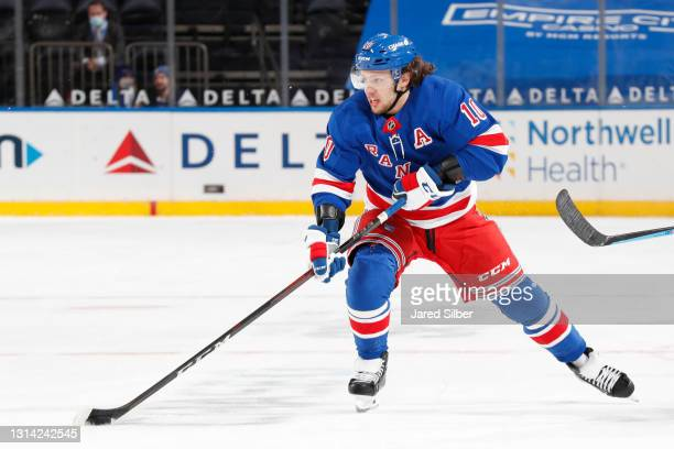 Artemi Panarin of the New York Rangers skates with the puck against the Philadelphia Flyers at Madison Square Garden on April 22, 2021 in New York...