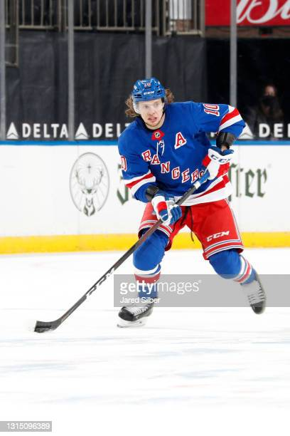 Artemi Panarin of the New York Rangers skates with the puck against the Philadelphia Flyers at Madison Square Garden on April 23, 2021 in New York...