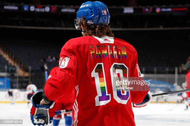 Artemi Panarin of the New York Rangers sports a special jersey during warmups in honor of Pride Night prior to the game against the Washington...