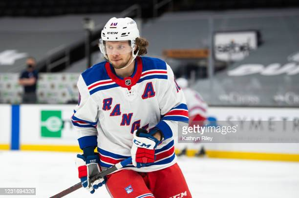Artemi Panarin of the New York Rangers warms up prior to the start of the game against the Boston Bruins at TD Garden on March 13, 2021 in Boston,...