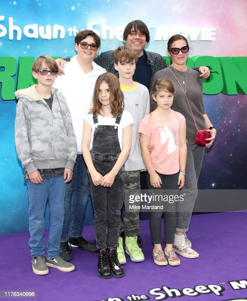 Artemis James Geronimo James Sable James Galileo James Alex James Beatrix James and Claire Neate attend the Shaun The Sheep Movie Farmageddon UK...