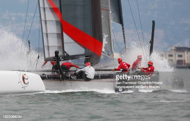 Artemis Racing Red and Luna Rossa - Piranha race against each other during the Match Racing Qualifiers for the America's Cup World Series on...