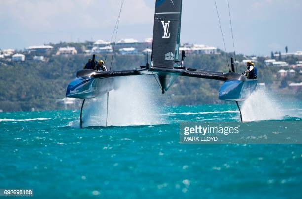 Artemis Racing skippered by Nathan Outteridge races against SoftBank Team Japan during the 35th America's Cup Challenger Playoffs Semifinalson June 5...