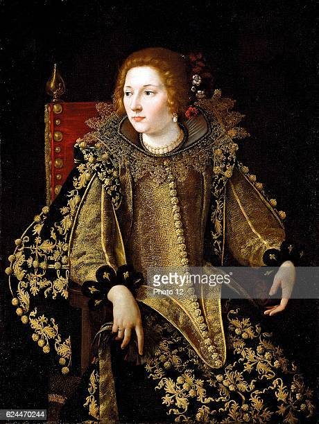 Artemisia Gentileschi Italian school Portrait of a Lady threequarter seated dressed in a Gold embroidered costume
