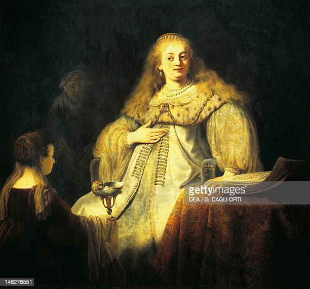 Artemisia receiving Mausolus' ashes by Rembrandt oil on canvas 142x153 cm Madrid Museo Del Prado