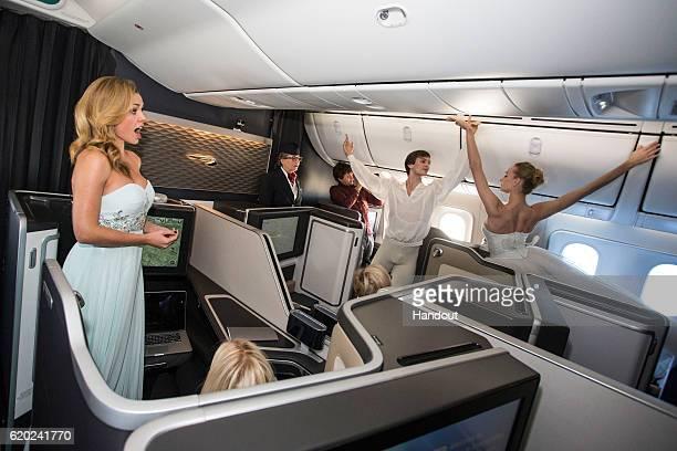 Artemy Belyakov and Olga Marchenkova of the Bolshoi Ballet stage the world's first ballet in the air onboard a British Airways Boeing 787-9...