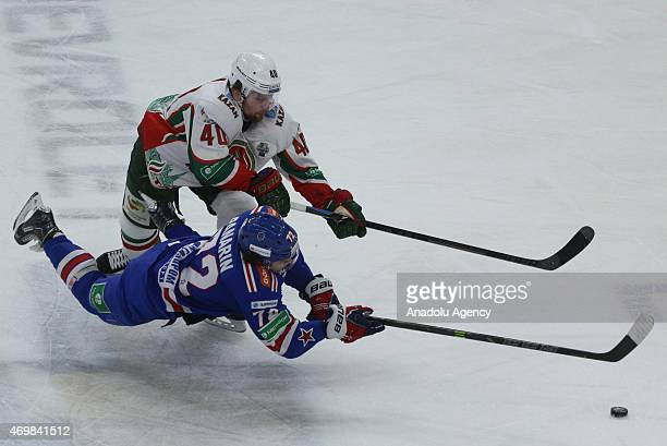 Artemy Panarin of SKA StPetersburg in action with Petr Vrana of AK Bars Kazan during the 3rd match of final series of Gagarin cup between SKA...
