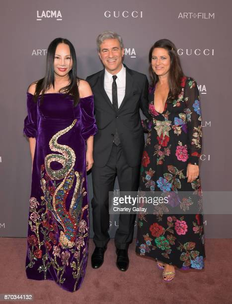2017 ArtFilm Gala CoChair Eva Chow LACMA CEO and Wallis Annenberg Director Michael Govan and Katherine Ross all wearing Gucci attend the 2017 LACMA...