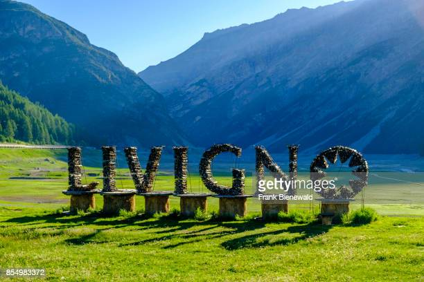 Artful decoration on a meadow at the entrance of Livigno town