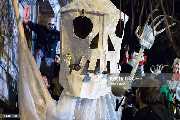 Artful protesters dresses as zombies during January demonstrations in Ljubljana Slovenia demanding changes. After Prime Minister Jansa's party called...