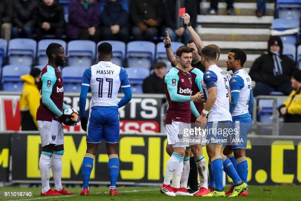 Arther Masuaku of West Ham United gets sent off during the The Emirates FA Cup Fourth Round match between Wigan Athletic and West Ham United on...