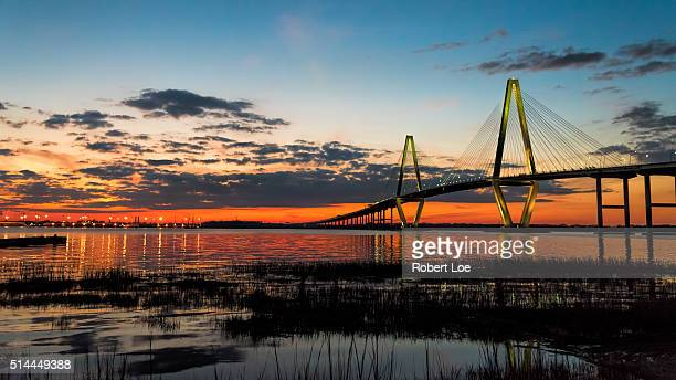 arther ravenel bridge at twilight hour - template_talk:south_carolina stock pictures, royalty-free photos & images