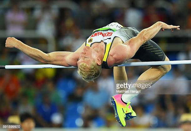 Arthur Abele of Germany competes in the Men's Decathlon High Jump on Day 12 of the Rio 2016 Olympic Games at the Olympic Stadium on August 17 2016 in...