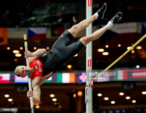 Arthur Abele of Germany in action during the men's Heptathlon pole vault competition at the IAAF European Athletics Indoor Championships 2015 at the...